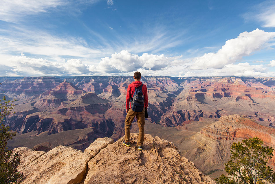 A lone hiker looks out over a canyon. He could be wearing Patagonia gear, but is too far away to tell.