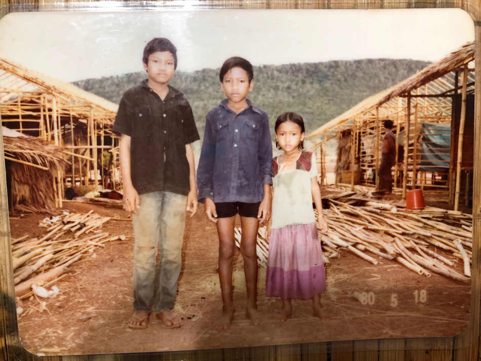 Three Cambodian children in a Thai refugee camp, for Building Connections blog post.