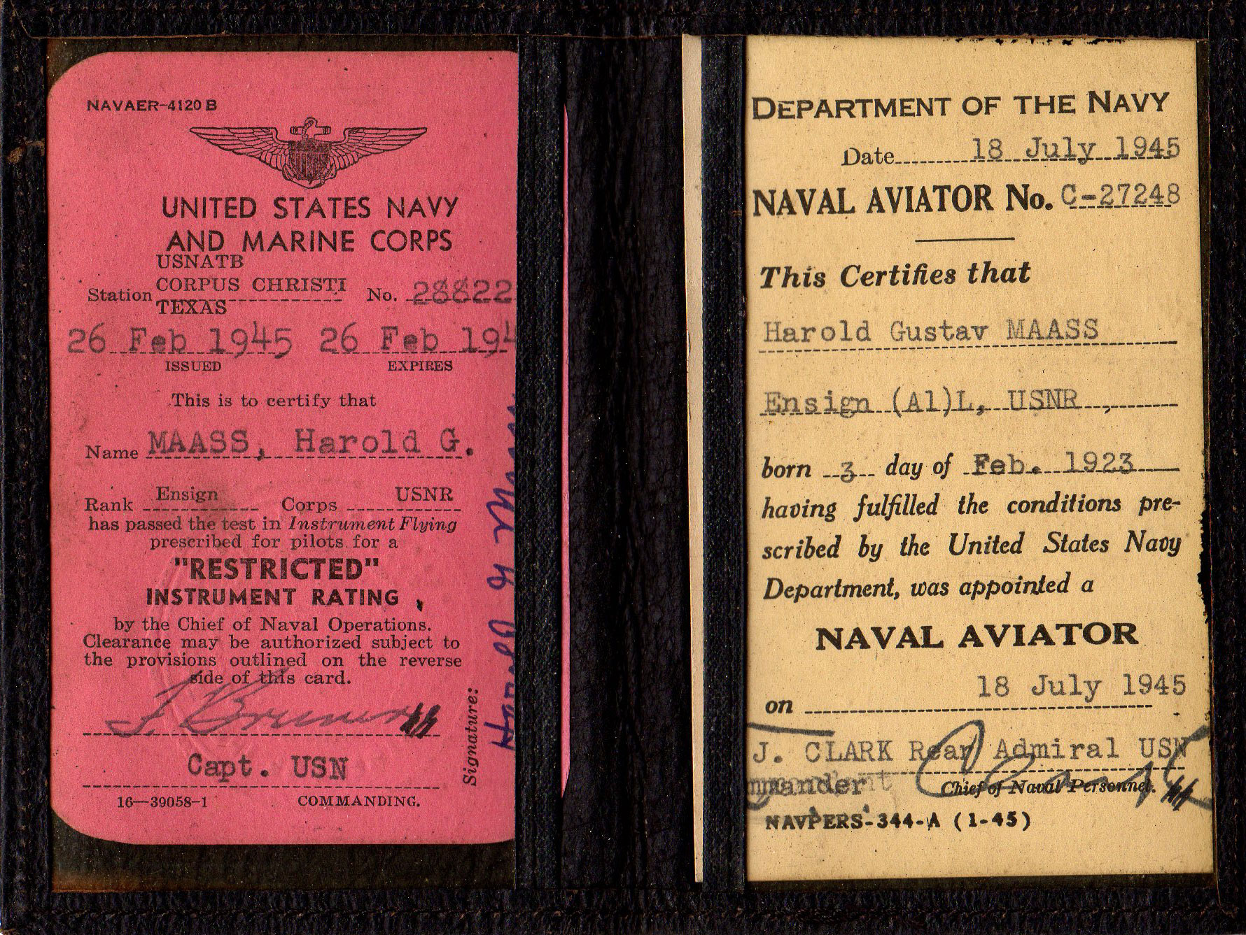 World War II Naval aviator certificate